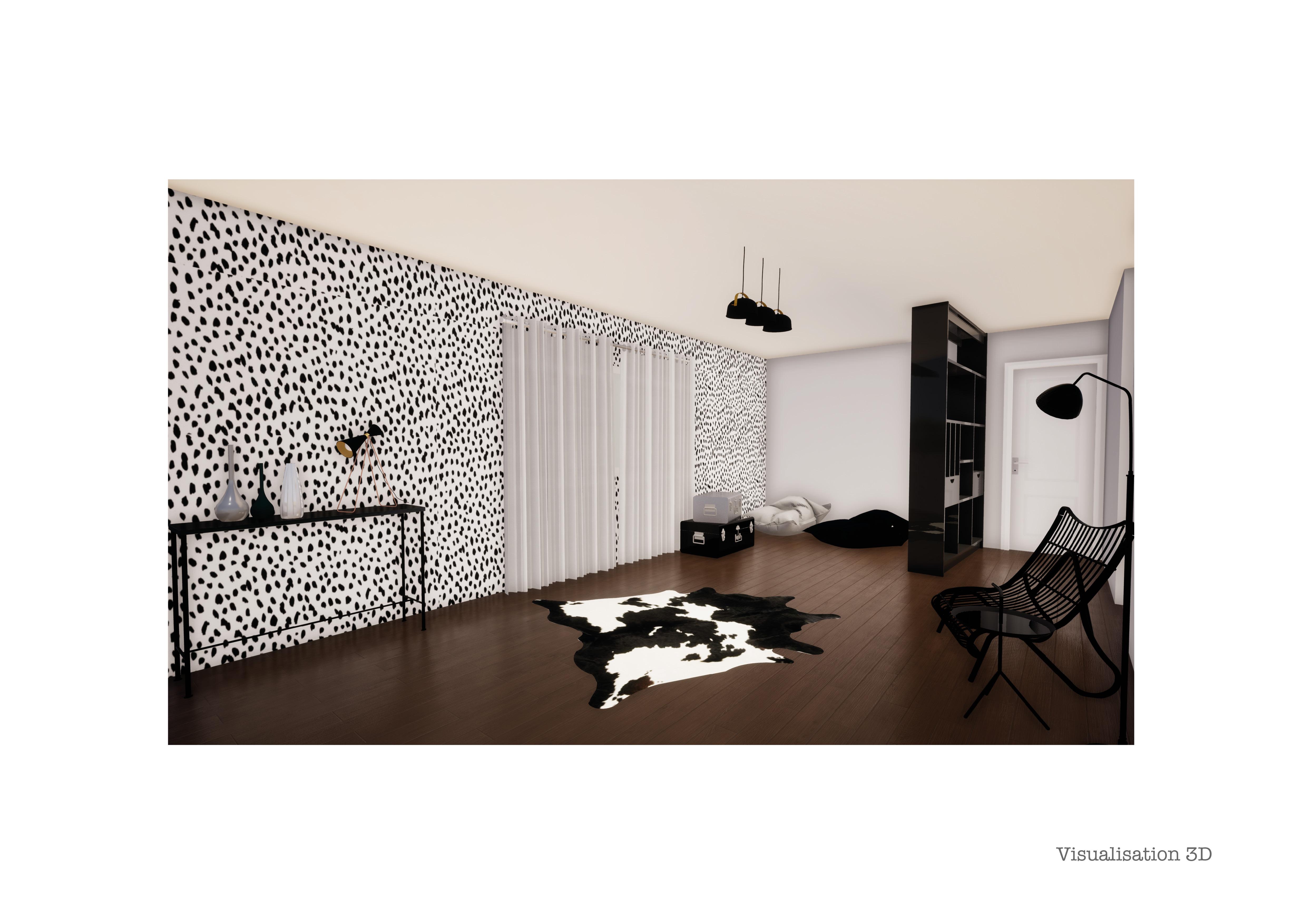 decoration-couloir-noir-blanc-maison-individuelle-mauguio ...